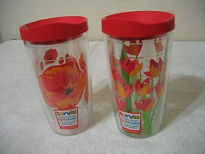 Tervis 16Oz  Floral Tumbler - ( Set Of 2 - Popy and Tulip ) With Matching Lids