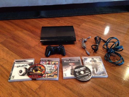 Playstation 3 Super Slim 250GB Console PS3 CECH-4001 6 Game Bundle Read! GTA V