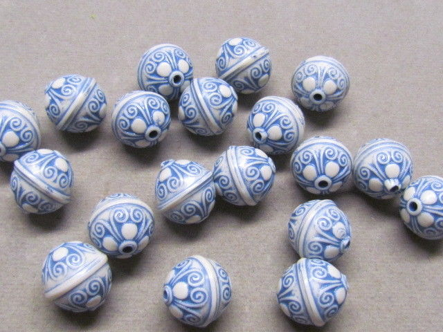 20 Blue White 12mm  Acrylic Beads(K3D20)