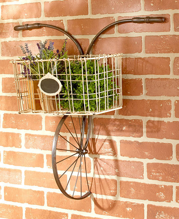 Indoor/Outdoor Hanging Wall Planter Mounted Hanging Bicycle with Basket