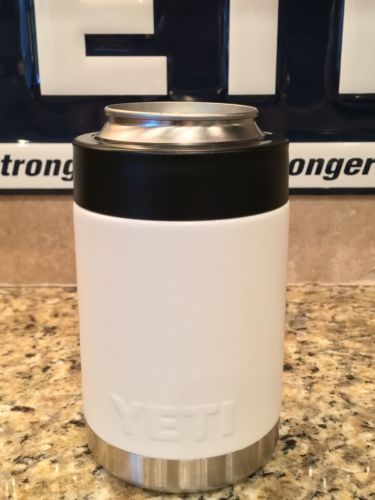 Custom White Yeti Colster NEW-- Finished In White Satin with Stainless Bottom!