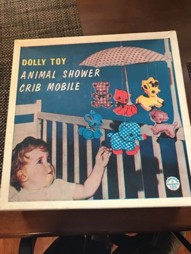 Vintage Dolly Toy Animal Shower Crib Mobile 50s 60s.  in Box