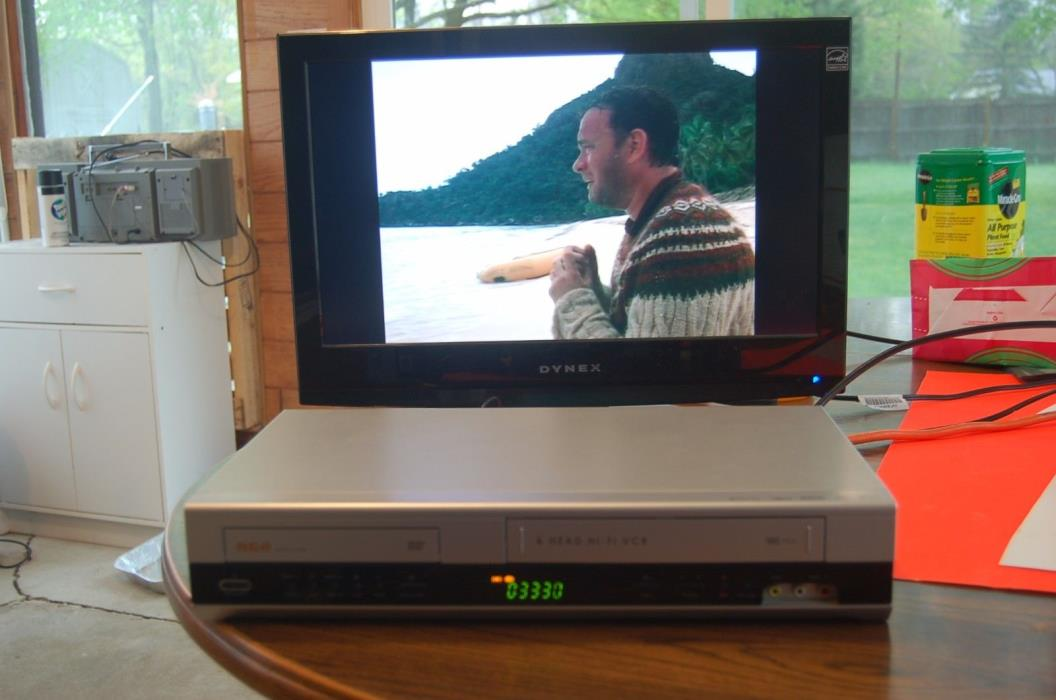 RCA DRC6350N DVD VCR Combo with remote cables vhs video recorder player tested
