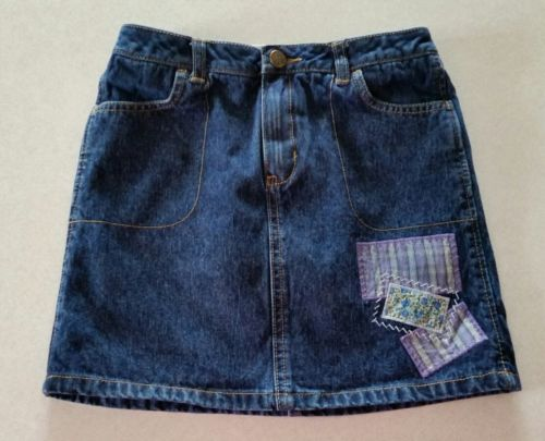 Lands End 100% Cotton Denim Embellished Skort Size 7 Adjustable Waistband