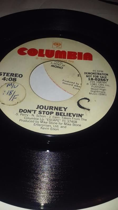 Journey, Don't stop Believin' Promo 45 from 1991