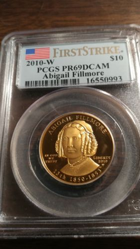 2010-W 1/2 oz Gold Abigail Fillmore PCGS PR69 DCAM First Strike w/OGP