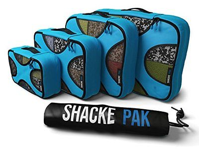 Luggage Organizer Travel Packing Set Storage Cubes Bag Clothes 4 Pcs Aqua Teal