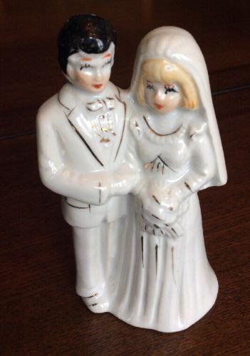 Vintage Ceramic Cake Topper GOT Made Im China Wedding Bride Groom 1950s