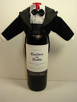 2 - Department 56 Black Velvet Tuxedo Wine Bottle Covers ~ New