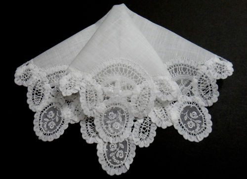 Antique Brussels Princess Lace Hanky Wedding - France - Pristine Beautiful!