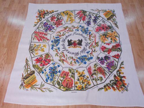 A+ RARE Vintage Antique WILDFLOWER FLOWER AUSTRALIA 1950s Cotton TableCloth