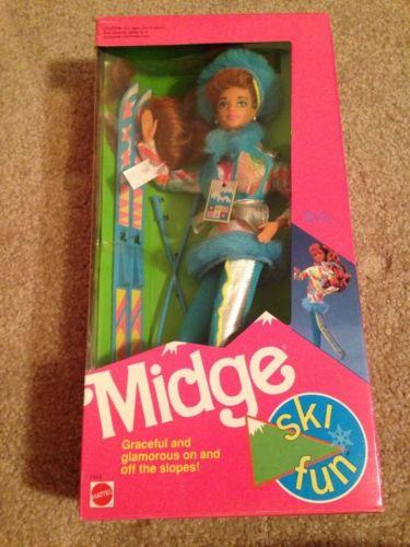 Mattel 1991 SKI FUN MIDGE Barbie doll  #7513 NRFB Factory Sealed One Owner 3+