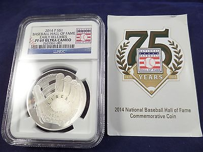 2014 P BASEBALL HALL OF FAME SILVER DOLLAR NGC PF-69 Ultra Cameo Early Releases