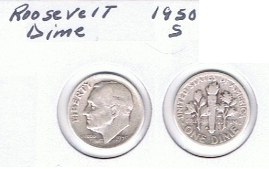Roosevelt Dime 1950 S Circulated See Scan.
