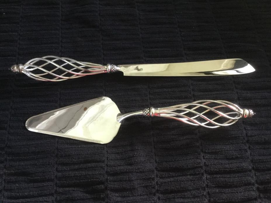 Bombay Company Twisted Silver Serving Set Knife and Cake Taker