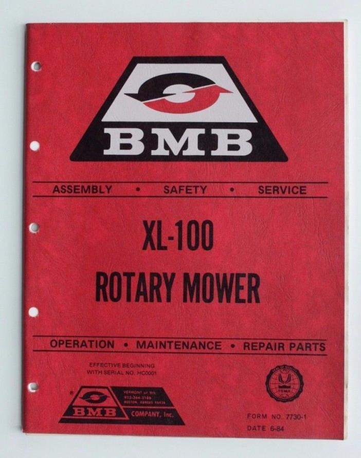BMB XL-100 Rotary Mower Service Operation Maintenance Parts Manual