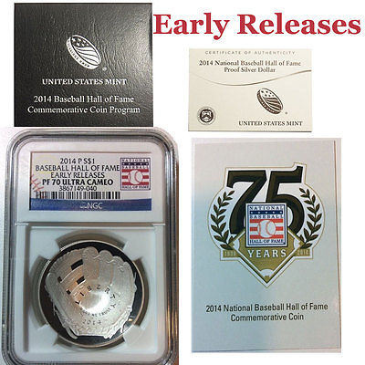 2014-P Proof $1 Silver Baseball Hall of Fame NGC PF70 UC EARLY RELEASE + OGP