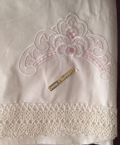 Vintage Embroidered Italian Sheet White Pink Crochet Lace Queen Flat NWT