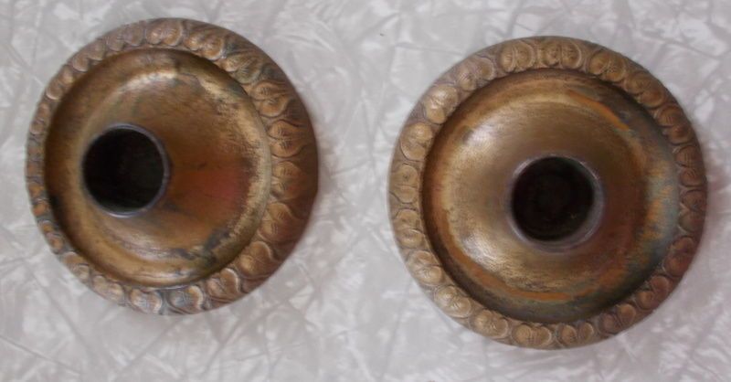 ANTIQUE ARTS & CRAFTS CAST IRON CANDLE HOLDERS