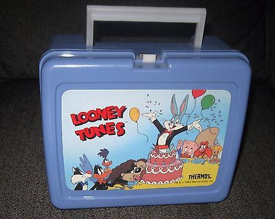 1989 Looney Tunes Bugs Bunny Daffy Duck Lunch Box W/Thermos Blue