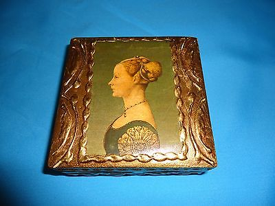 Vintage Wood Trinket Box Jewelry Box  Gold Gilt - Made Italy