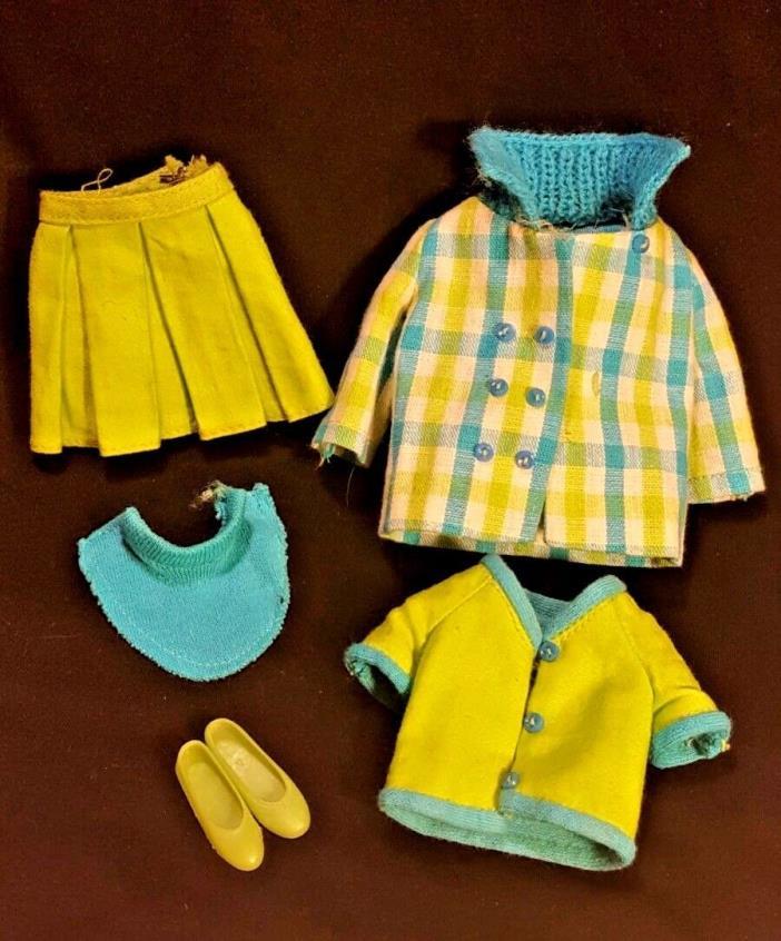 VTG Barbies Skipper Plaid City Outfit 1977 Jacket Shirt Skirt Shoes Turtleneck