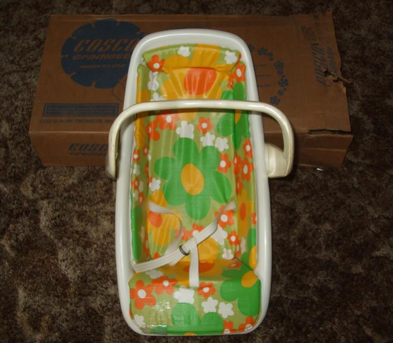 VTG Cosco Cradlette Infant Baby Seat 70s 80s Carrier Car Seat Feeding Chair/Box