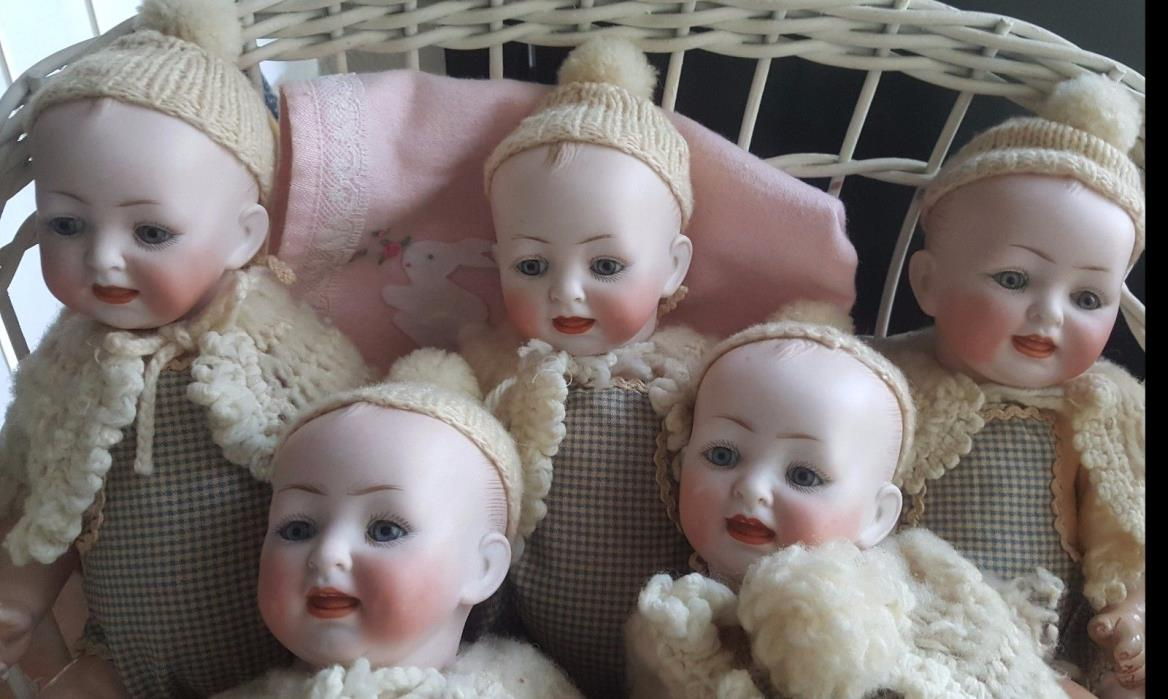 5 Antique German Bisque Dome Head Dolls Marked 2/0 151 Kestner or Hertel Schwab