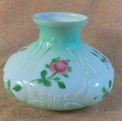 Vintage Hand Painted Floral Flower Lamp Light Shade for an Oil Lamp Art Glass