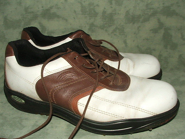 ECCO White/Brown Leather Golf Shoes Size 11 M