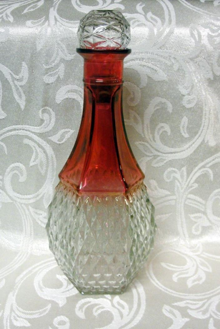 ELEGANT PANEL AND DIAMOND QUILT CUT CRANBERRY GLASS DECANTER
