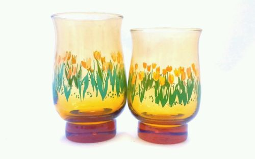 Libbey Tumblers Tulip Shaped Set of 2, 15.5oz/12.5oz Vintage 1976 Floral Design