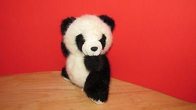Russ Berrie Plush vintage Ping panda teddy bear seated black made Korea 7.5-8