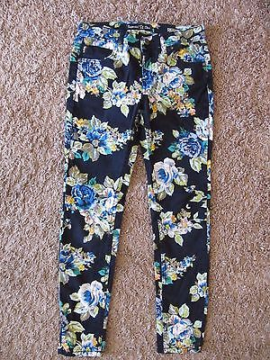 IMPERIAL STAR SKINNY JEANS BLACK FLORAL PANTS GIRLS SIZE 10 CLOTHES SO CUTE *LN