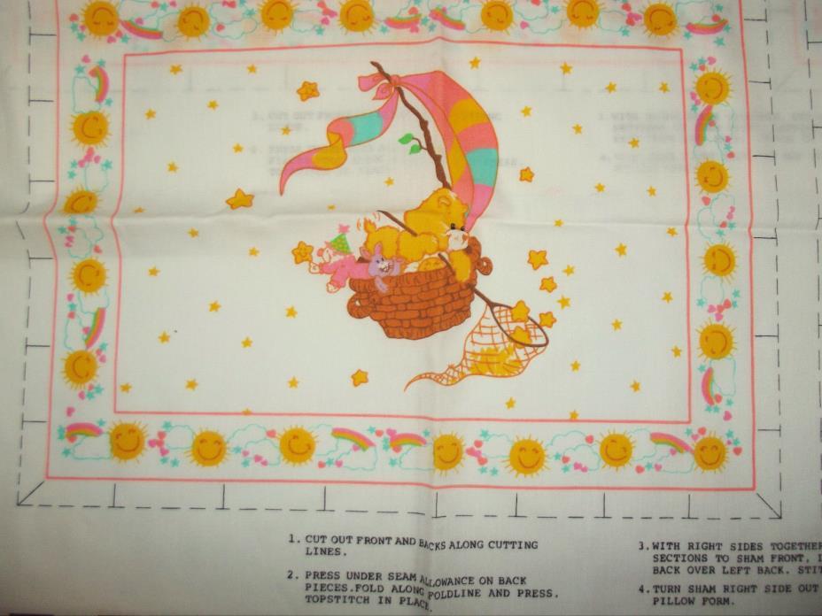 2 Vtg Care Bears Yellow Cotton Fabric Pillow Sham Panel 1980 American Greetings
