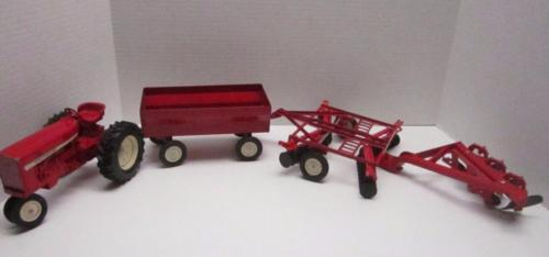 Vintage International Harvester Ertl Tractor, Plow, Wagon & Cultivator Red