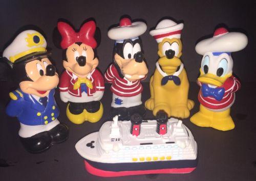 Disney Cruise Line Bath Toy 6 Pcs Mickey Minnie Pluto Donald Goofy Ship Sold Out