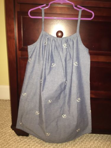 Kellys Kids Chambray Anchors Beach Picture Sun Dress New Size 7 8