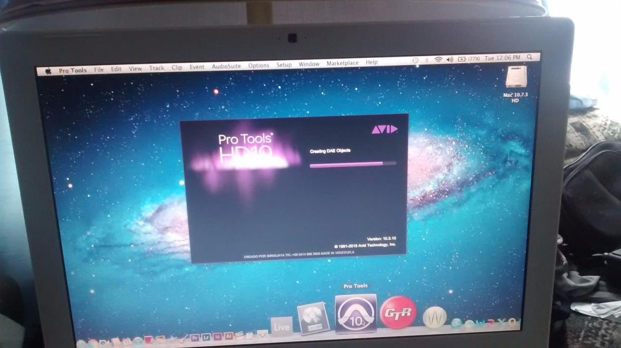 500 gig hard drive OSX 10.7.3  Protools HD 10, logic pro 9, final cut, cs6