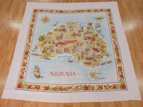 NICE Vintage Antique AUSTRALIA SOUVENIR MAP 1950s Cotton TableCloth
