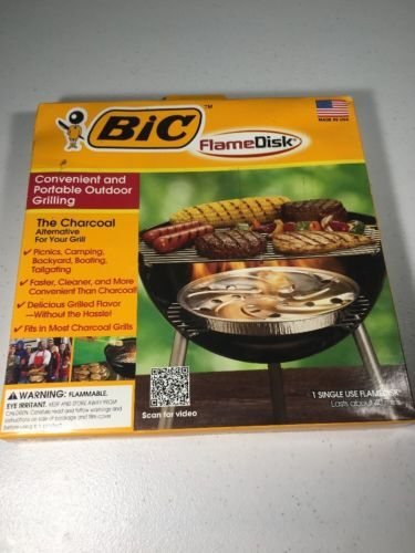 Bic Flame Disk Convenient /Portable-Charcoal Free Grilling Camping BBQ NEW (b)