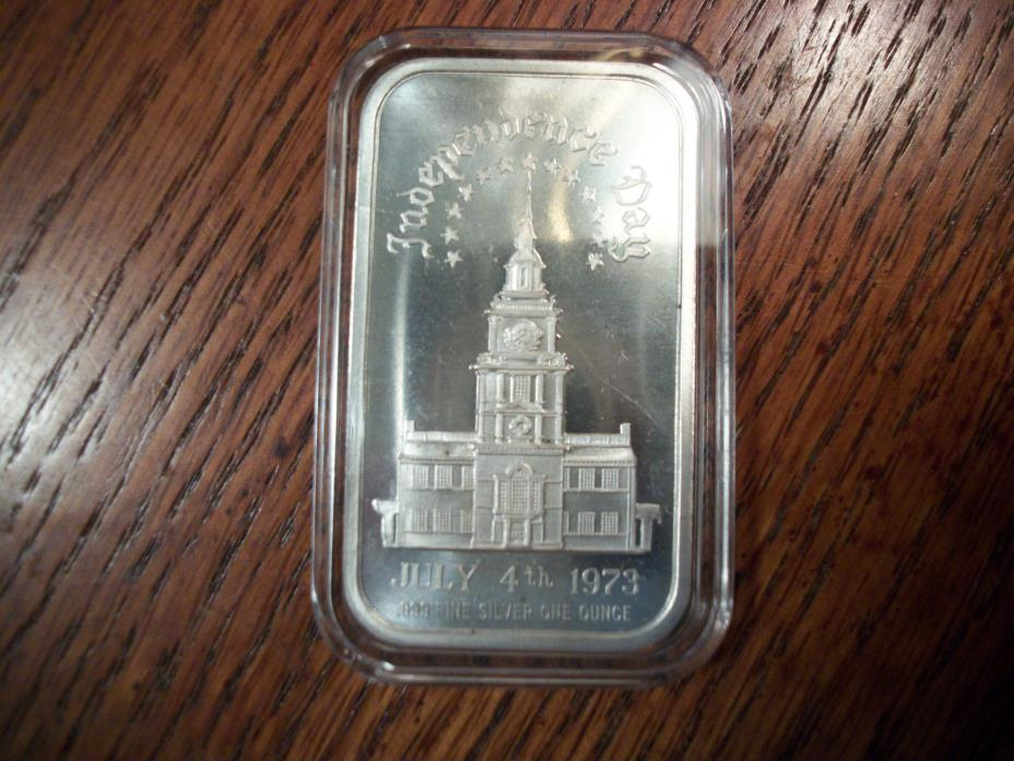 .999 FS BAR INGOT INDEPENDENCE DAY JULY 4,1973 MADISON MINT