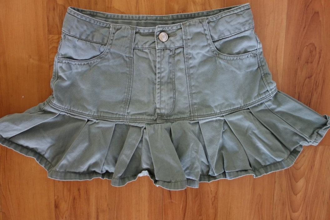 Green Dog Kids Girls Olive Green Skort Skirt Peated Adjustable Waistband Sz 8