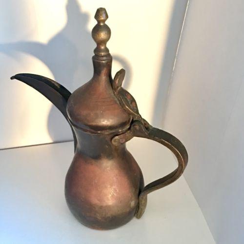 ANTIQUE ARABIC COFFEE POT DALLAH  COPPER BRASS TIN MAKER'S MARK GOOD CONDITION