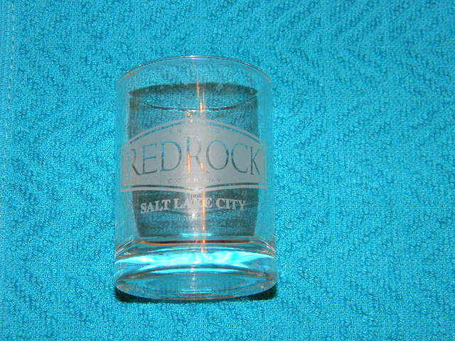 RedRock Brewing Company shot glass- Salt Lake City- logo on front-displayed only