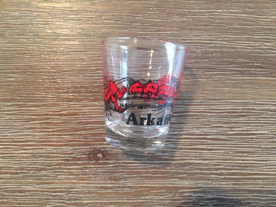 ARKANSAS Fella Sleepin Trees Razorback Hog  Red & Black Clear SHOT GLASS  Older
