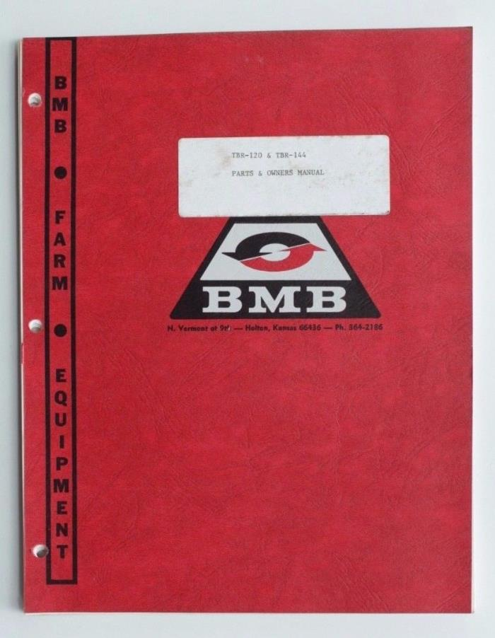 BMB TBR-120 TBR-144 Mower Parts & Owners Manual