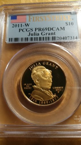 2011-W 1/2 oz Gold Julia Grant PCGS PR69 DCAM First Strike w/OGP