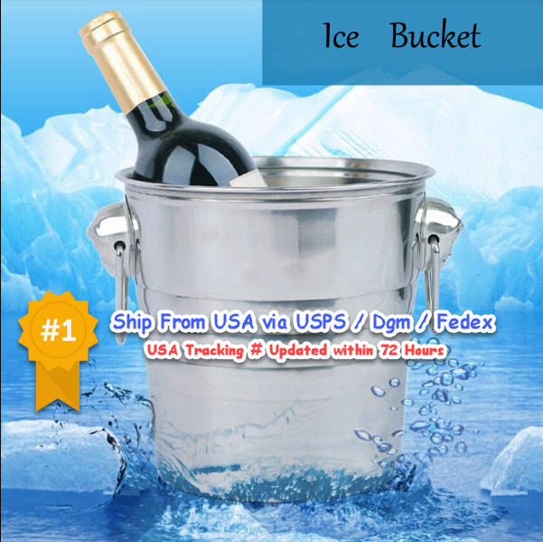 Ice Bucket Steel Stainless Double Tongs Wine Wall Cooler Champagne And New Bar I