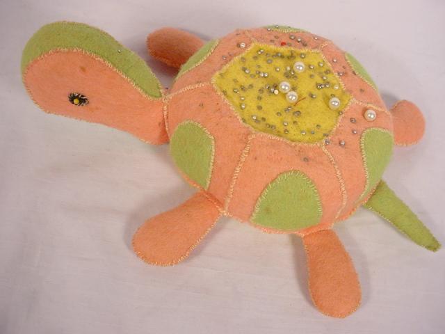 Vintage Handmade Felt Turtle Pin Cushion Pink Green Yellow